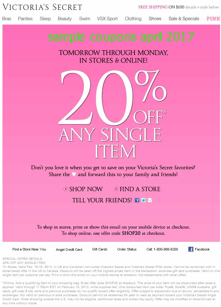 Victoria secret discount coupons printable