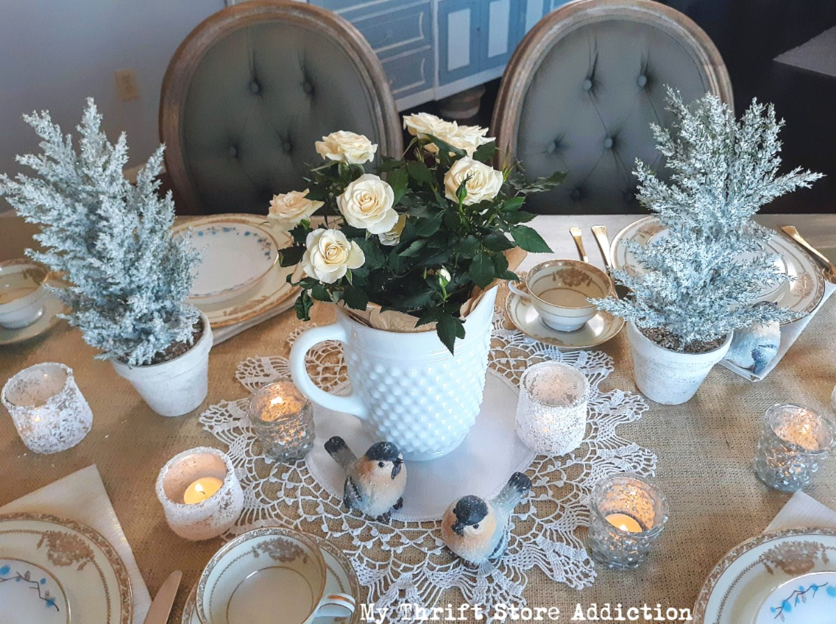 milk glass and metallic winter tablescape