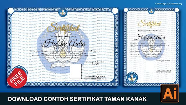 Download Contoh Sertifikat PAUD Atau TK Microsoft Word CorelDraw, Photoshop