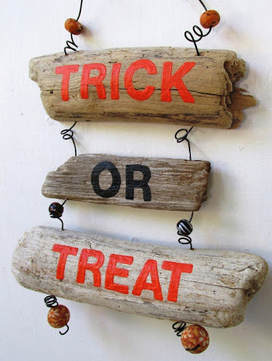 Trick or Treat Driftwood Wall Sign