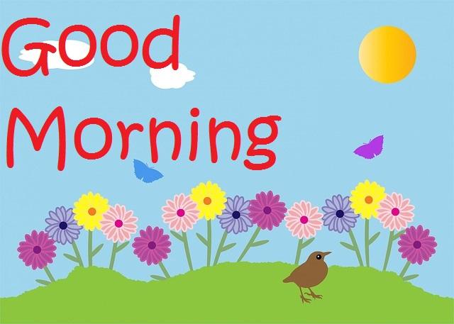 Beautiful good morning bird with sun and flower