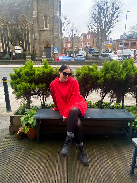 Red Hoodie Sweat Dress