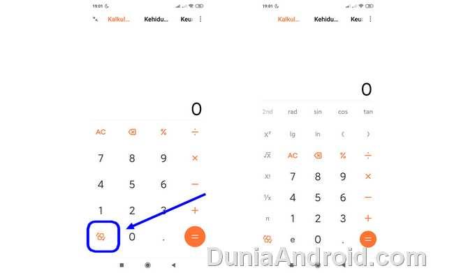 menu fungsi matematis kalkulator xiaomi