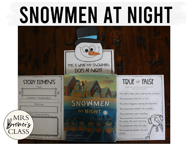 Snowman at Night book study literacy unit with Common Core aligned companion activities and a craftivity for K-1