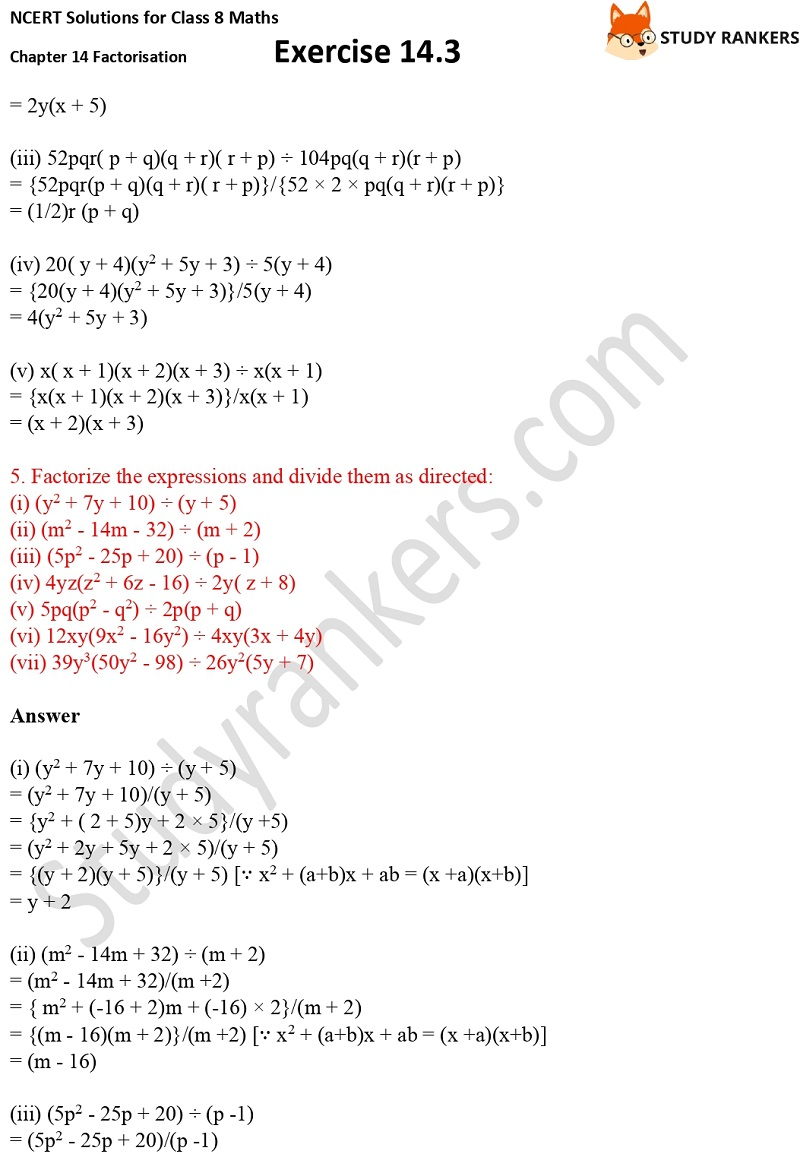 NCERT Solutions for Class 8 Maths Ch 14 Factorization Exercise 14.3 4