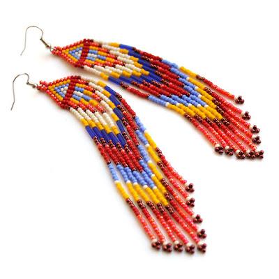 купить яркие цветные серьги из бисера подарок девушке хиппи украшение