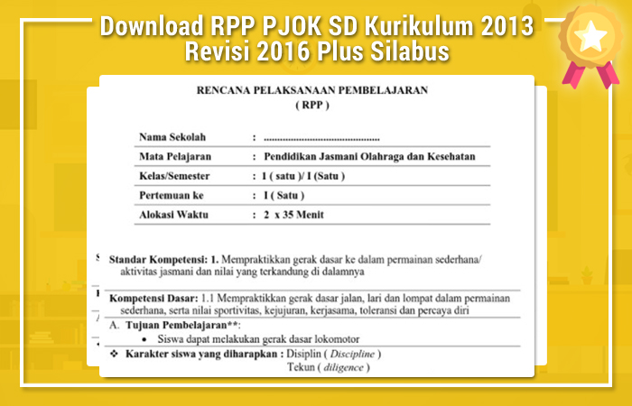 Download RPP PJOK SD Kurikulum 2013 Revisi 2016 Plus Silabus