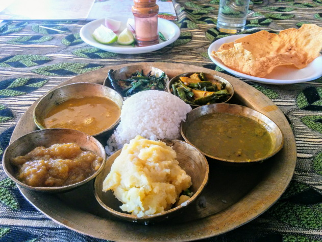 Delicious plate of Assamese Thali, Sibsagar, Assam, India