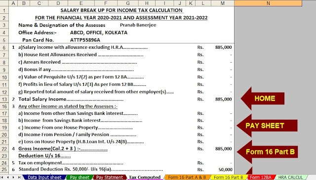 Automated Income Tax Calculator All in One for the F.Y.2020-21
