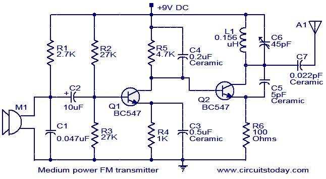 Medium Power Fm Transmitter Circuit Electronics Solution