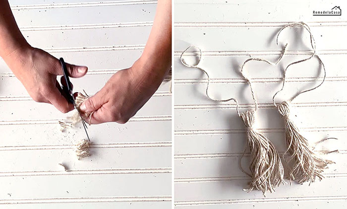trimming uneven ends of tassels