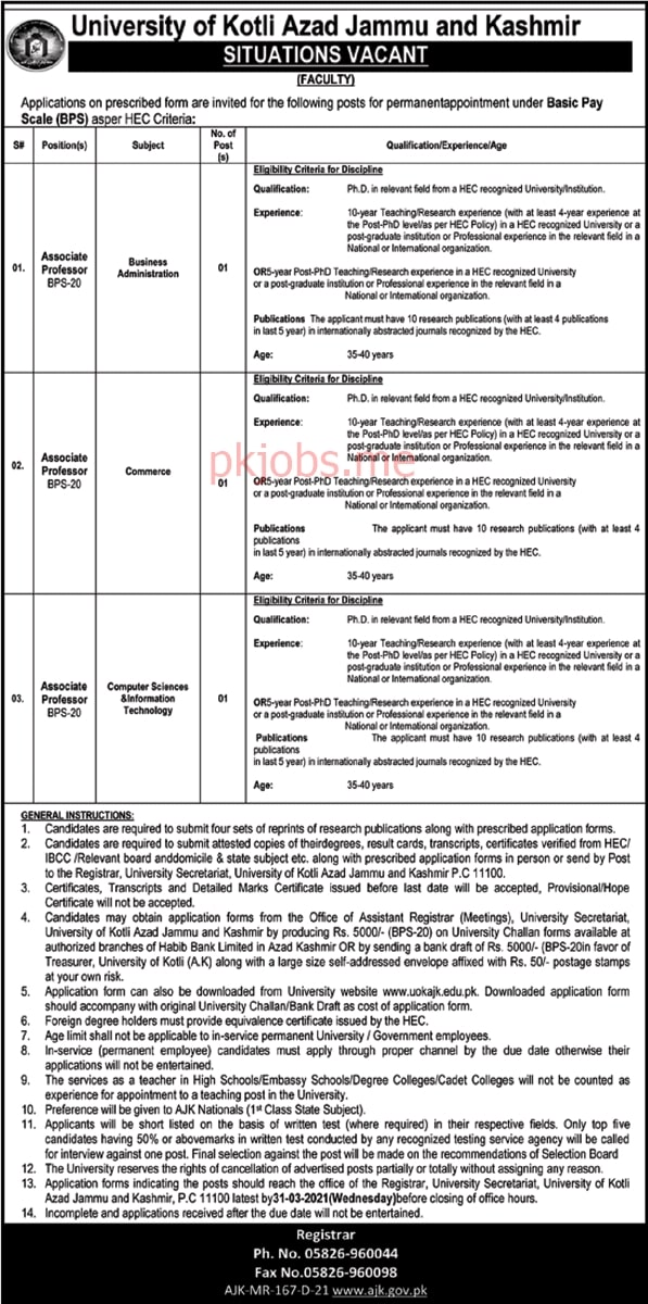 Latest University of Kotli Azad Jammu and Kashmir Posts 2021