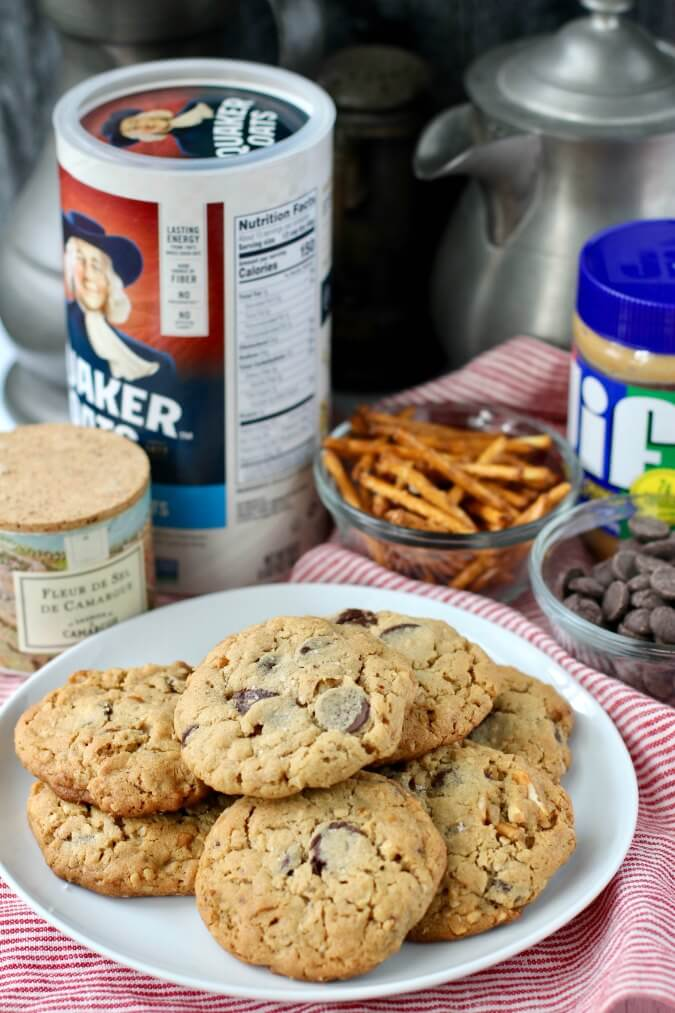 Peanut butter oatmeal cookies with pretzels and chocolate chips