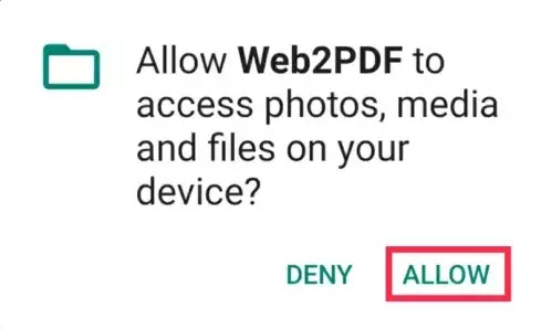 Web2pdf allow