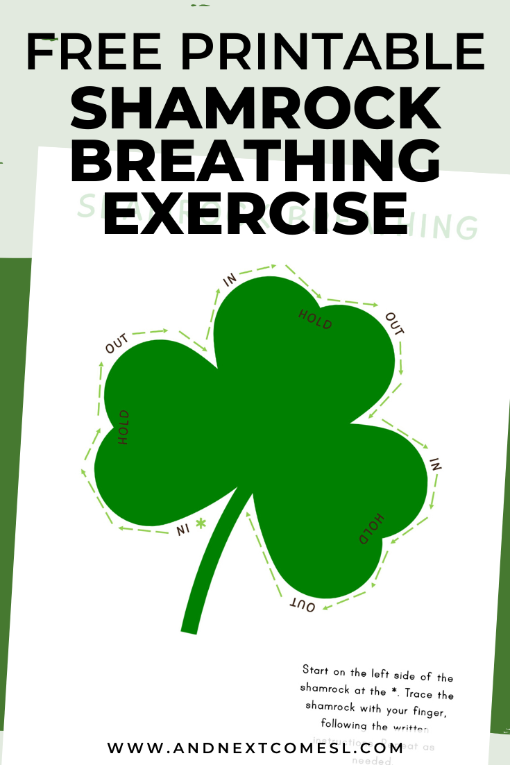 Shamrock shaped deep breathing exercise for kids with free printable mindfulness poster - perfect for St. Patrick's Day!