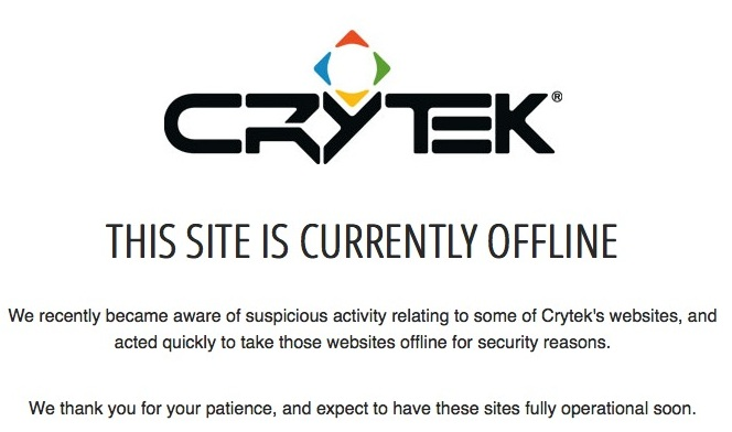 German Video Game 'Crytek' Websites go offline after Security Breach