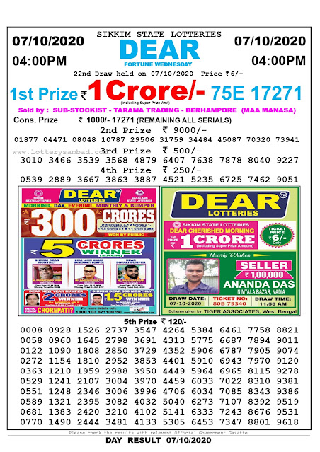 Lottery Sambad Result 07.10.2020 Dear Fortune Wednesday 4:00 pm