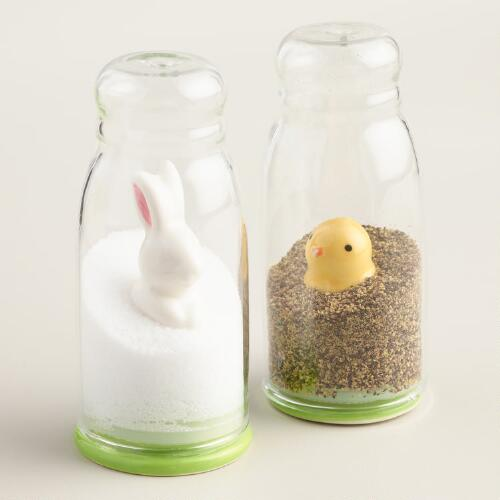 Bunny and chick salt and pepper shakers