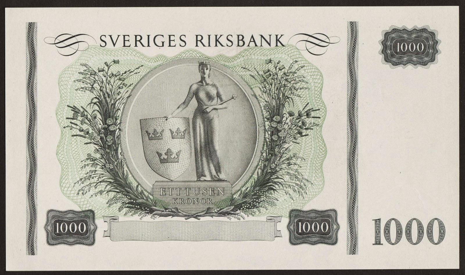 Sweden Banknotes 1000 Kronor banknote Mother Svea