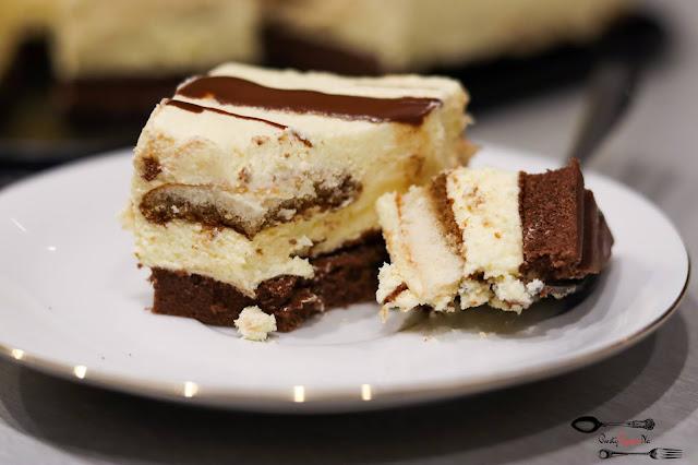 ciasta i desery, ciasto na biszkopcie, kakaowy biszkopt, krem z mlekiem w proszku, ciasto na imprezę, ciasto cappucino,