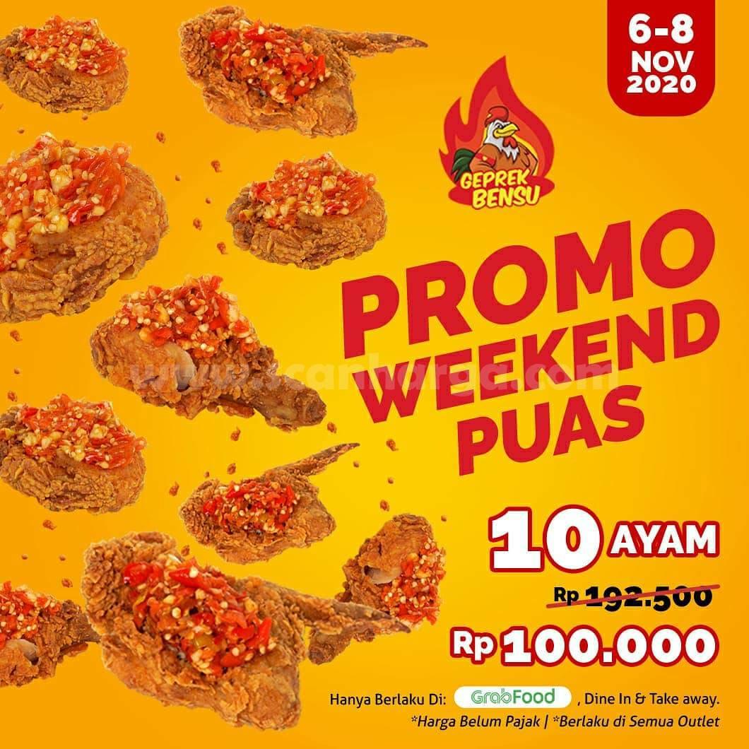 Geprek Bensu Promo Weekend Puas - 10 pcs Ayam cuma Rp 100.000,-