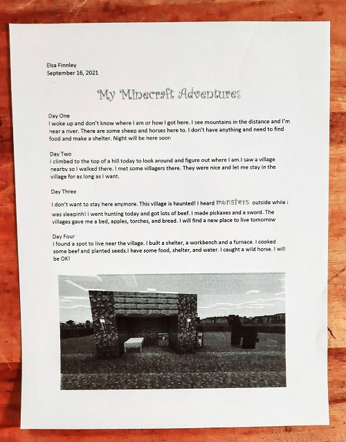 My Minecraft Adventures: a creative writing and journaling project