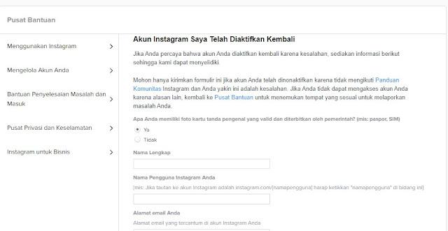 Cara Mengaktifkan Kembali Akun Instagram yang Dinonaktifkan/ Banned Terbaru