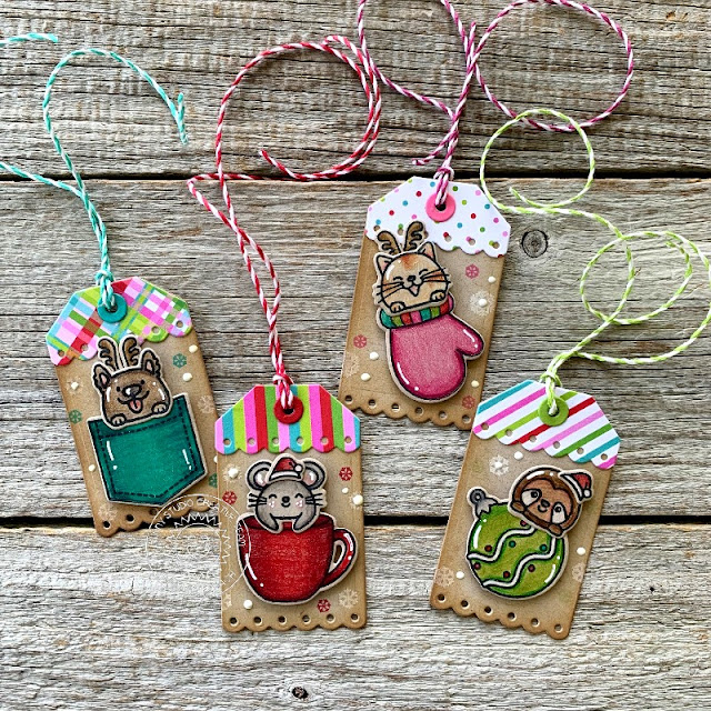 Sunny Studio Stamps: Christmas Critters Sliding Window Dies Critter Themed Christmas Tags by Audrey Tokach