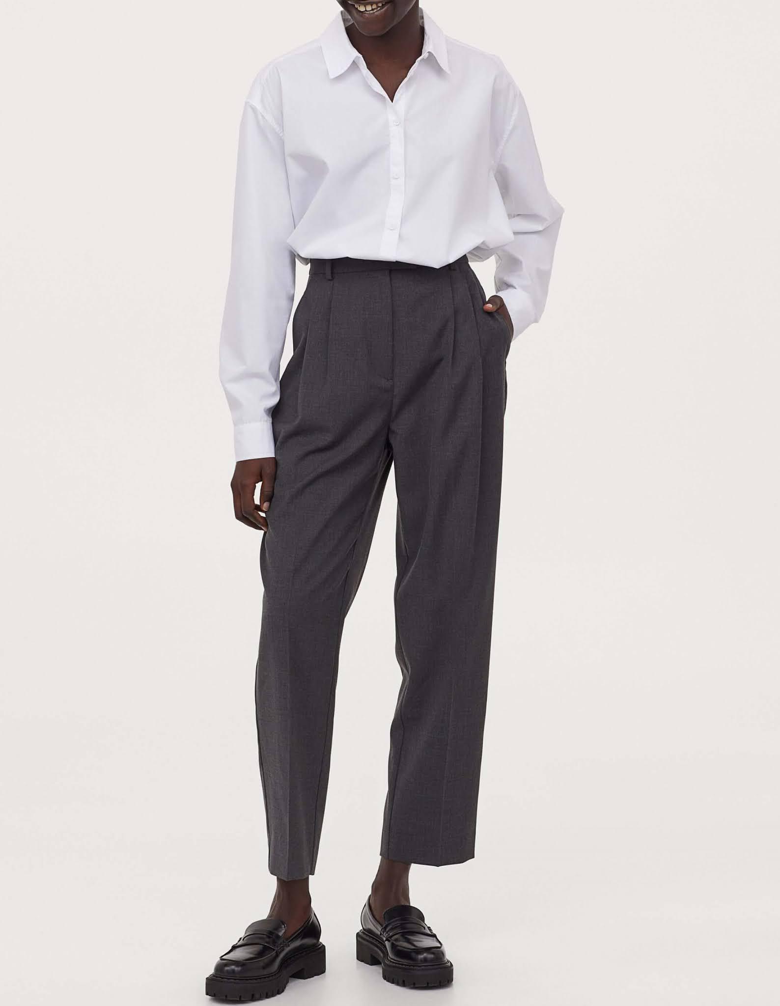 gray creased pants