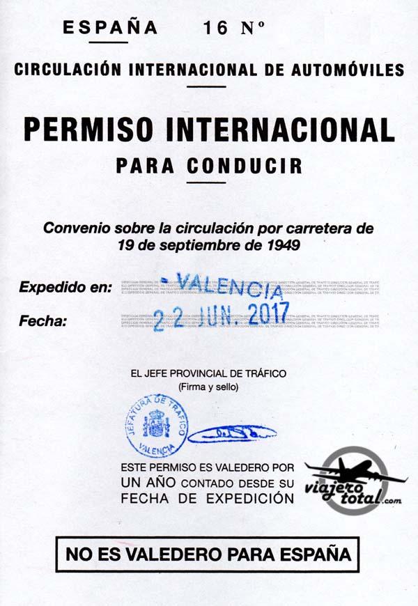 Permiso de conducir internacional - España