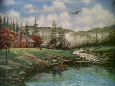 Mural tema pemandangan landscape