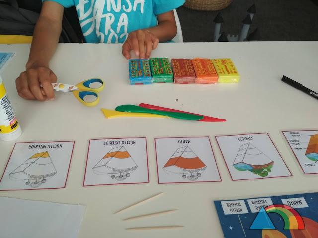 Tarjetas tipo Montessori con las diferentes capas de la Tierra y paquetes de plastilina de colores y herramientas para plastilina preparados para hacer estas capas