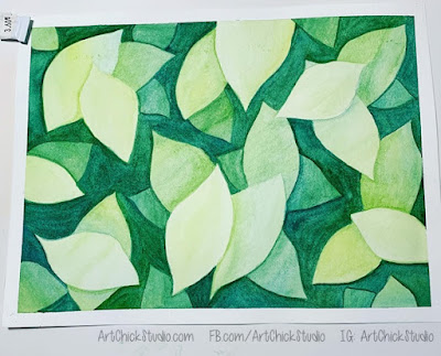 Green Leaves Negative Painting