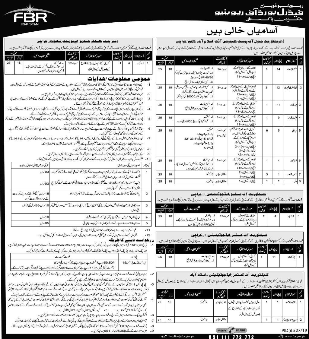 Advertisement for FBR Jobs July 2019 Page No. 3/3
