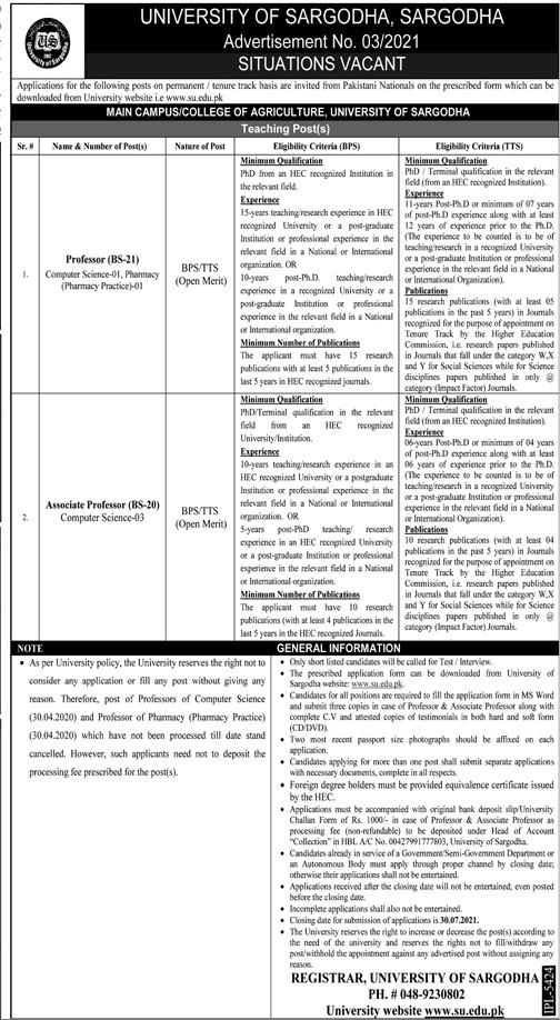 www.su.edu.pk Jobs 2021 - University Of Sargodha Jobs 2021 in Pakistan