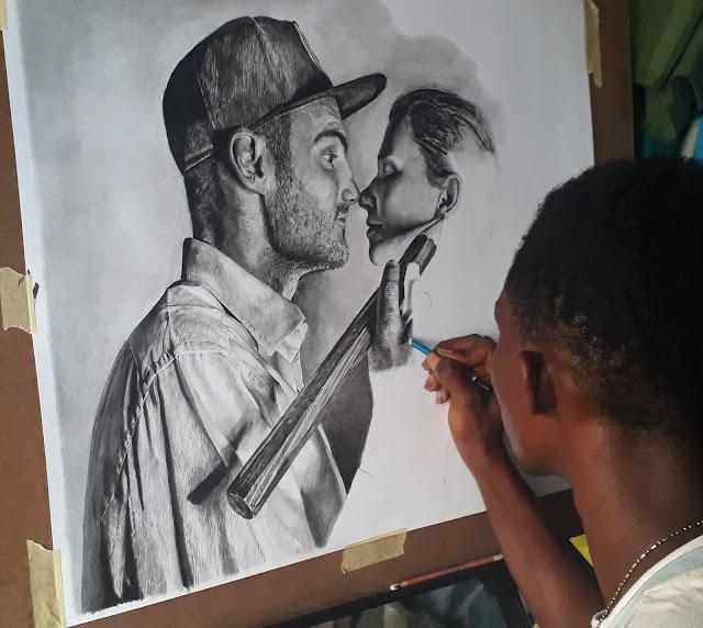 Artist Ben Heine and Marta Heine Portrait by Olamide Ogunade (OliscoArt)