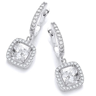 Silver Square Cubic Zirconia Halo Drop Earrings
