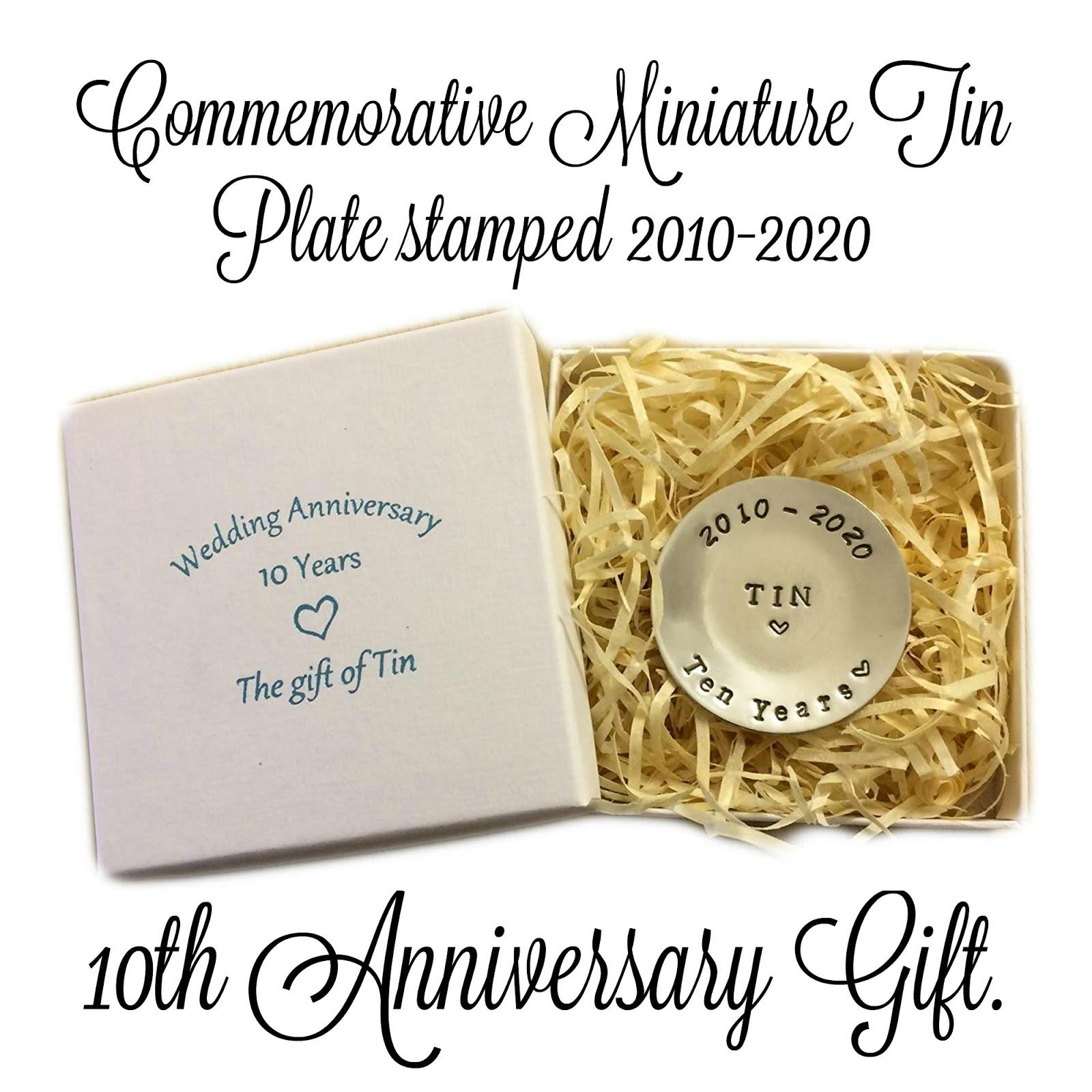 a 10th anniversary tin plate