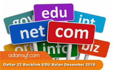 Daftar 22 Backlink EDU Bulan Desember 2016