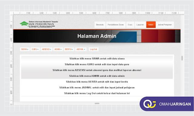 Halaman Dashboard User Admin Review Sistem Informasi Akademik Sekolah SMA, SMK, Universitas dengan Codeigniter