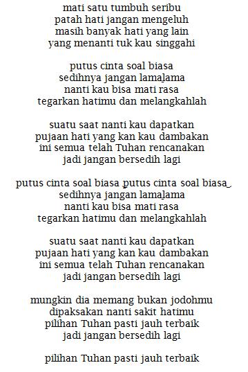 Lirik Lagu Jangan Bersedih Tiffany Kenanga