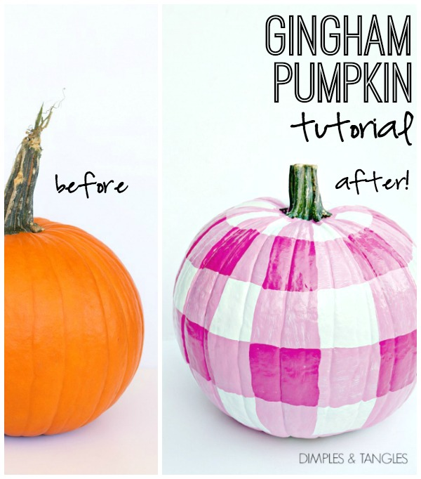 Gingham paint pattern on pumpkins