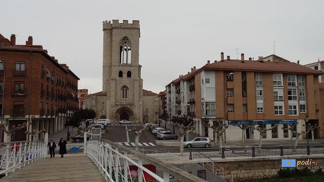 iglesia de san miguel en palencia y río carrión