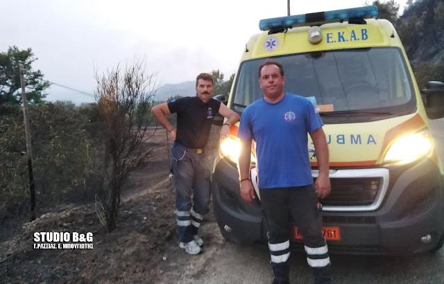 Πλήρωμα και ασθενοφόρο του ΕΚΑΒ Αργολίδας στην Γορτυνία με υγειονομικό υλικό από το Νοσοκομείο Άργους
