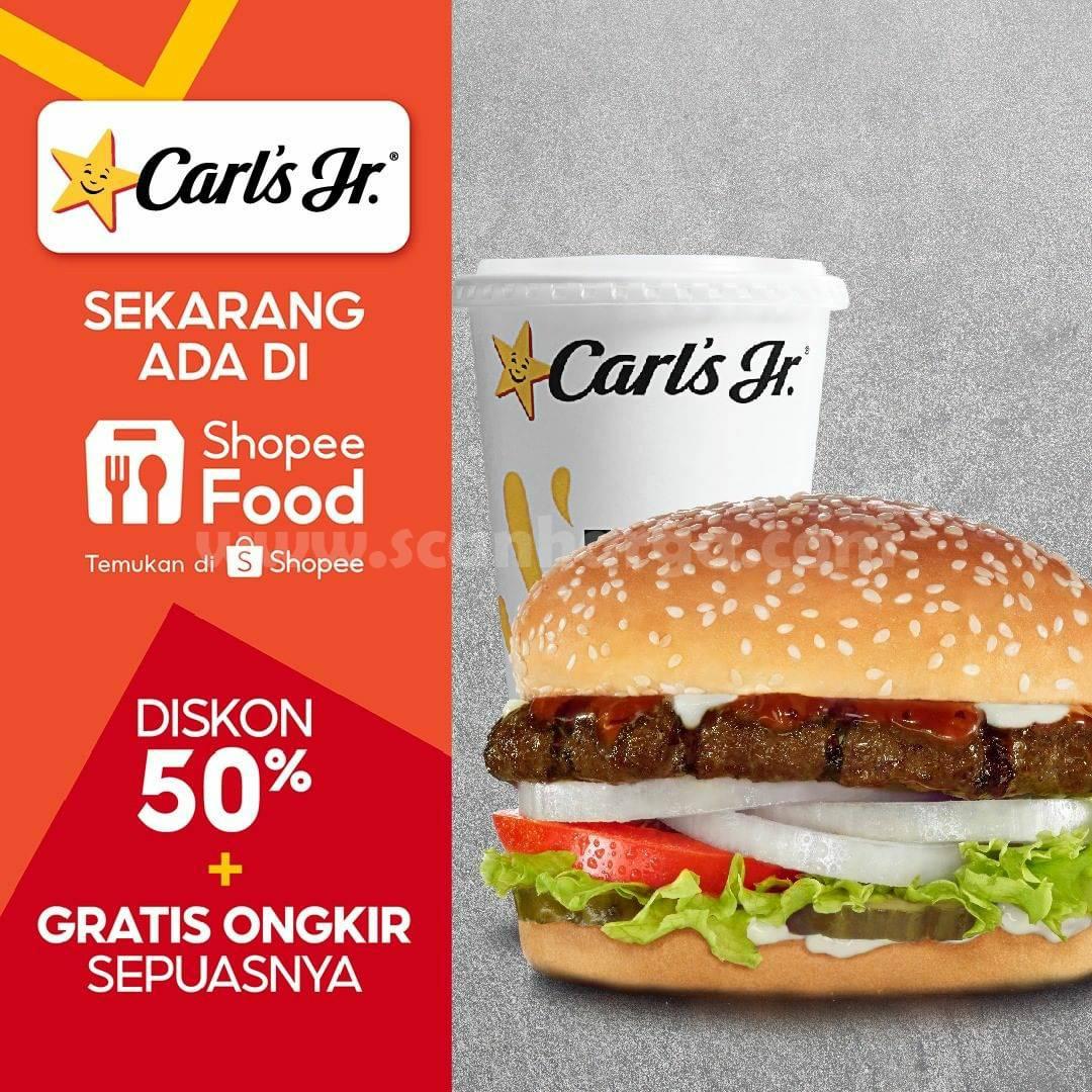 Carls Jr Promo Diskon 50% + Gratis Ongkir via Shopee Food