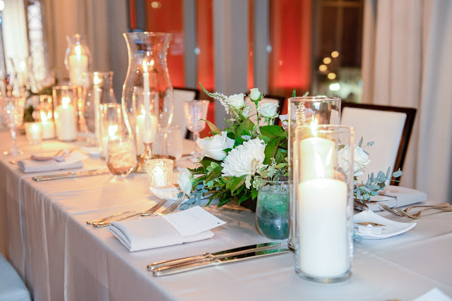 reception candles and green centerpiece