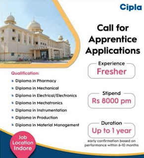 Diploma  Apprentice Vacancy in Cipla Limited Pharmaceutical Company For Indore, Madhya Prades