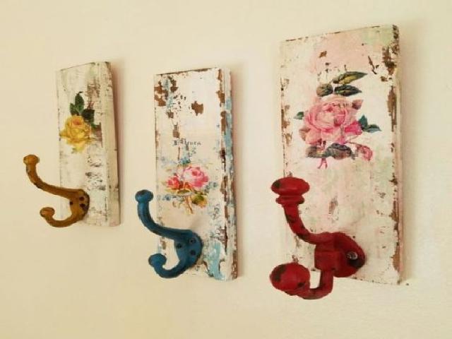 Painted, DIY wooden hooks