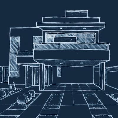 Na fase de estudos do projeto, a fachada não contava com beirais em todos os segmentos da platibanda que protege o telhado. O guarda corpo dos terraços ainda era parcialmente composto por painéis de vidro.