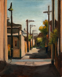 Oil painting of a narrow laneway bordered by a Victorian-era house and several electricity poles.